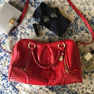 Red Brahmin Leather Top Handle Bag with Strap